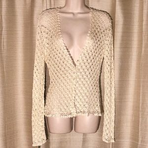 Carmen Marc Valvo Cream lace jacket with pearls